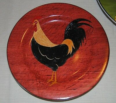 WARREN KIMBLE COUNTRY QUARTET BY SAKURA SALAD PLATE ROOSTER IN RED (1)