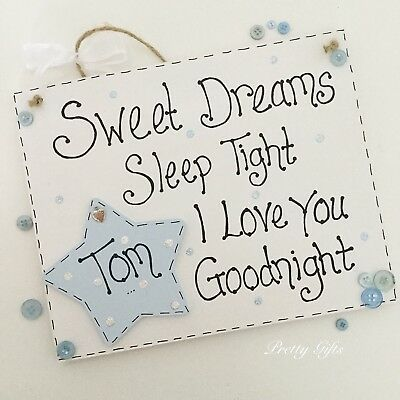 PERSONALISED SWEET DREAMS Sleep Tight I Love You Goodnight Plaque