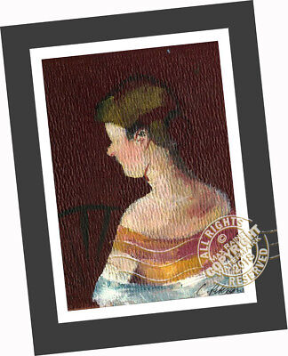 Lady in Loge w/ Fan Portrait ORIGINAL OIL PAINTING impressionist ACEO ART PRINT