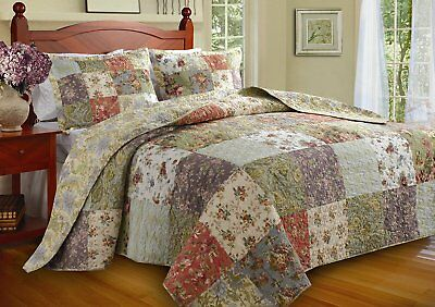 Beautiful Floral Antique Vintage Purple Blue Red Green Ivory Quilt Set Queen