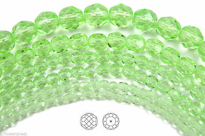 "Czech Fire Polished Round Faceted Beads in Chrysolite color, 16"" strand,lt.green"
