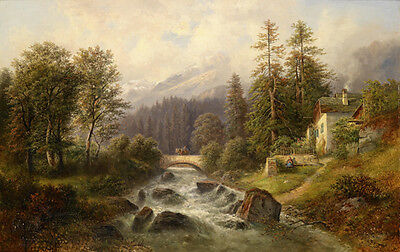 Art Large Oil painting stone bridge over the stream in summer landscape canvas