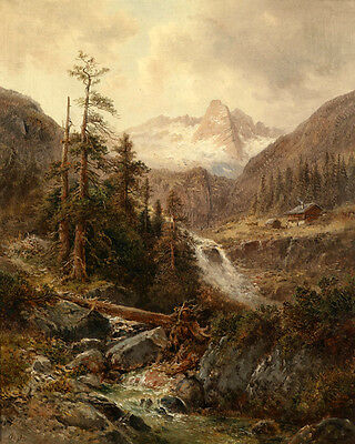 Large Oil painting sunset mountains landscape with brook in winter canvas