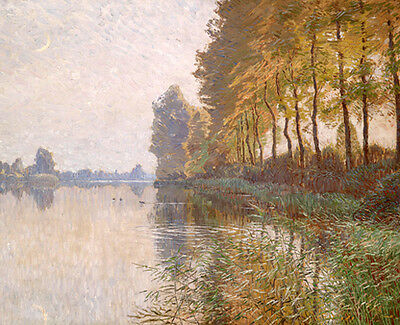 Oil painting impressionism landscape with trees along the river & moon canvas
