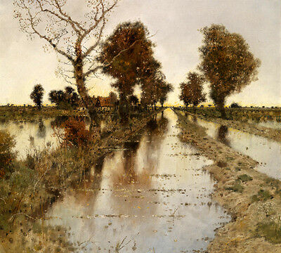 Oil painting landscape Rural autumn scenery with trees Drains in sunset canvas