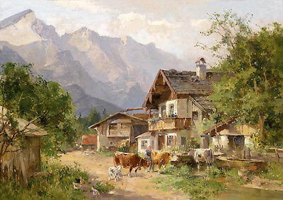 Huge Oil painting summer landscape farmer's house with cows  free shipping cost