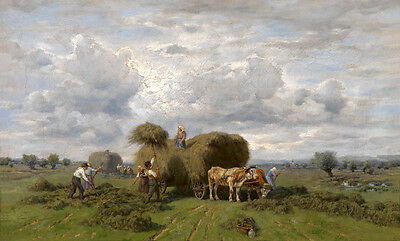 Dream-art Oil painting Oxcart bullock-cart with cows cattle in landscape canvas