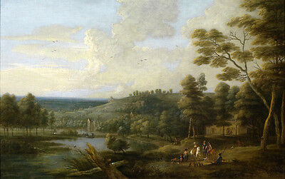 Stunning Oil painting river landscape with trees and horseman only canvas