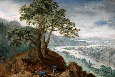 Stunning Oil painting wonderful landscape with people under the tree only canvas