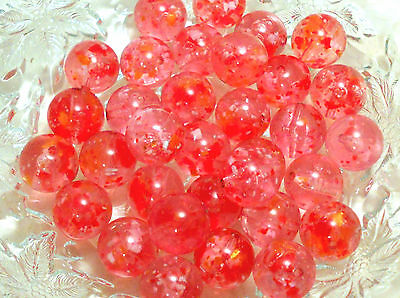 #979 Vintage Pink Beads Lucite Speckled Cotton Candy Girl NOS 15mm Confetti Red