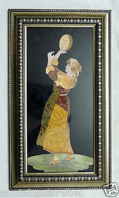Beautiful Girl inlayed on Marble Pietra Dura Plaque Micro Mosaic