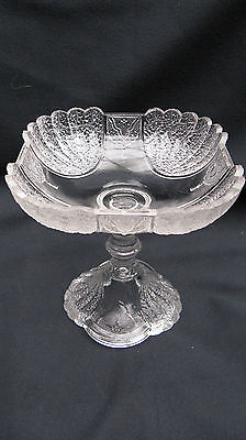 Antique 1881 EAPG Pattern Glass Shell and Tassel Square 6 Inch Open Compote