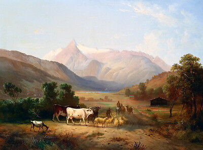 Oil painting stunning landscape Rancher and Shepherd & cows sheep goats in view