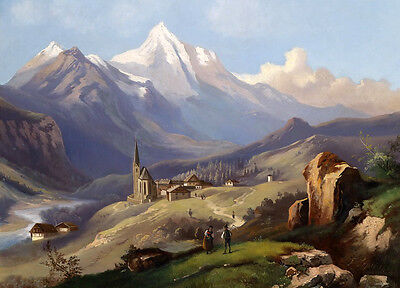 Free postage Oil painting village and church in beautiful landscape handpainted