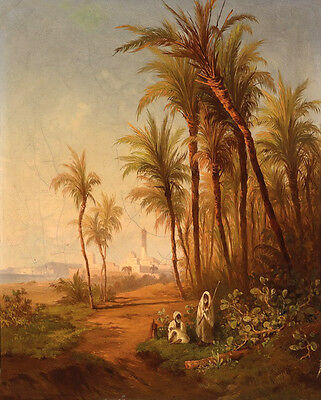 Beautiful huge Oil painting Arabs men portraits with Tropical trees landscape