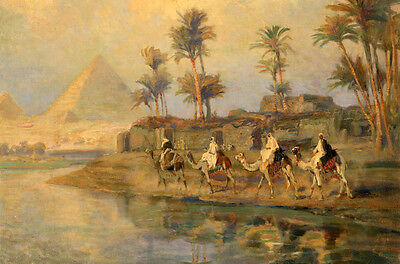 Exquisite Oil painting Arabs on camels by sunset river with Egyptian Pyramids