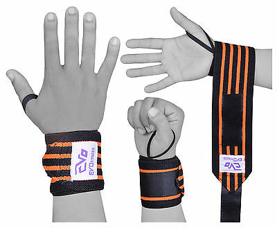 "EVO Weightlifting 18"" wrist Support Wraps Gym Strap Elasticated Bandages Fitness"