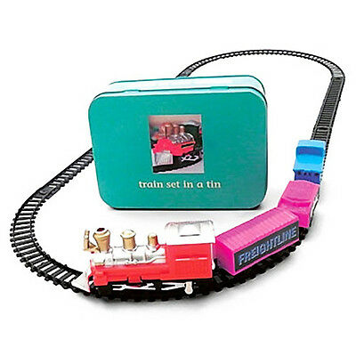 NEW Toy Train Set in Storage Tin - Battery Operated