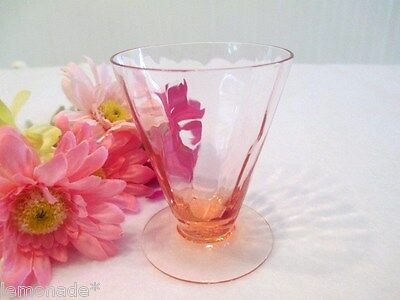 "Tiffin Pink 14196 Cordial or Juice Glass Goblet 3"" H. Optic pattern / Ex. Cond."