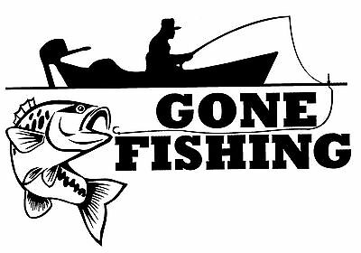 Gone Fishing #1 Sticker Decal Brand New For Car, Trailer, 4Wd, Boat, Laptop