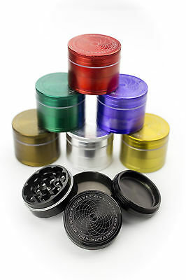 Grinder 40mm Metal 4 Part Herb with Aluminium Screen & Shark Teeth Mill Crusher