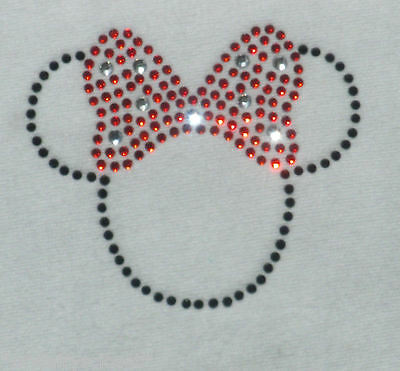 2.5 inch black/RED Minnie Mouse iron on Disney rhinestone small tiny transfer
