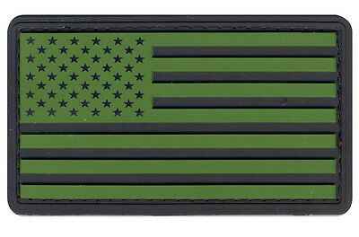 Subdued Flag Olive Drab/Black US Flag PVC Patch Hook & Loop Airsoft Paintball