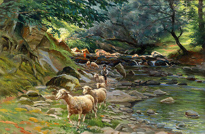 Oil painting man shepherd with his sheep by the creek in forest Hand painted