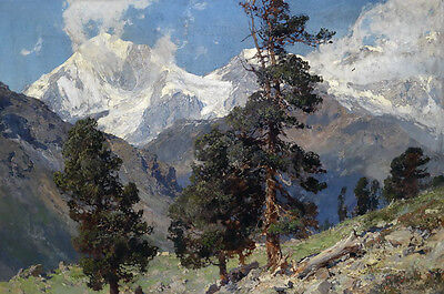 Dream-art Great oil painting spring mountains landscape with trees hand painted