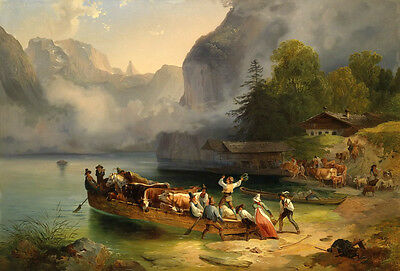 Oil painting Transport cattle boat cows and people by the river landscape canvas