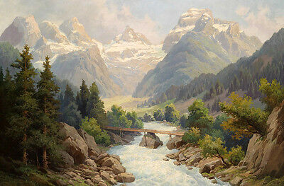 Handpainted Oil painting wooden bridge over the creek in the mountains landscape