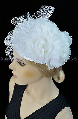 Wedding Melbourne Cup Race Feather Fascinator Clip Headband Hat Hatinator WHITE