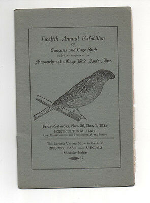 CANARIES & CAGE BIRDS 1928 Exhibition Rules Regulations MASSACHUSETTS CAGE BIRDS