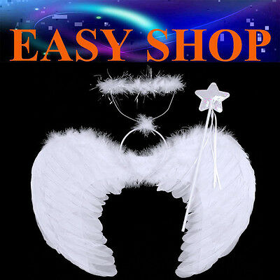 53X39cm White Feather Wings Halo Magic Wand Fairy Angel Dress Up Party Halloween