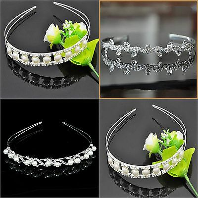 Tiara Wedding Formal Bridal Diamonte Rhinestone Crystal Pearl Headband Tiaras