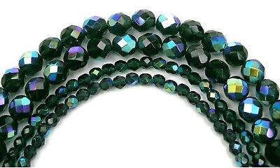 "Czech Fire Polished Round Faceted Glass Beads in Emerald AB coated, 16"", green"
