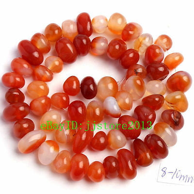 8-10mm Natural Red Carnelian Freeform Shape DIY Gemstone Loose Beads Strand 15""