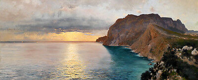 Art stunning Oil painting seascape - sunrise landscape by beach canvas