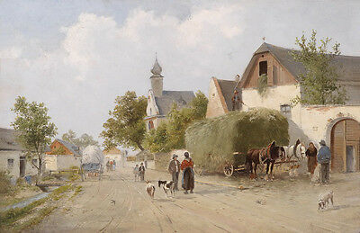 Oil painting Distant hamlet landscape in the morning with carriage people goats