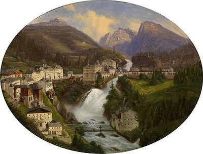 Art Oil painting great landscape river crossing the mountains and the village