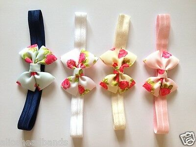 Floral Rose Vintage Style Baby Girl Headband Pink Ivory Blue White Elastic Band