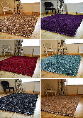 New Modern Plain Thick Non Shed Shiny Spaghetti Sparkle Shaggy Rug Mats Carpets