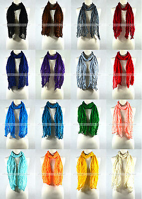 Solid Color Wrinkle Plain Spring Summer Scarf Wrap See Through Light Weight