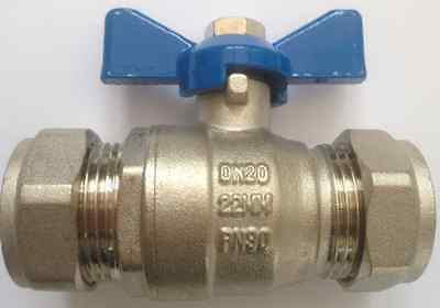 Butterfly Lever Handle Ball Valve 22Mm Blue Handle Compression Full Bore