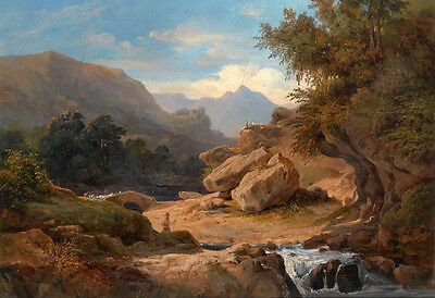 Art Oil painting sunset mountains landscape with brook handpainted