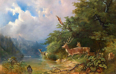 Large Oil painting wild animal deer family in landscape by the river on canvas