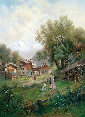 Large art Oil painting young woman & child in landscape by village on canvas