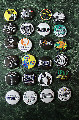 SKINHEAD COLLECTION 24 x 25mm BUTTON BADGES REGGAE SKA SCOOTER TROJAN RALLIES