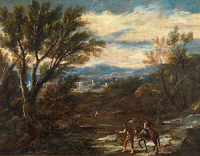 Large art Oil painting Ancient classical landscape horseman by the river canvas