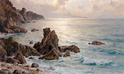 Large art Oil painting nice seascape ocean waves in the morning with rocks
